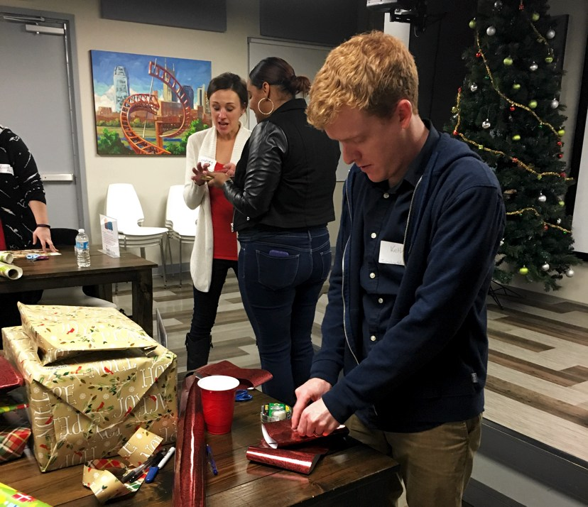 TechnologyAdvice throws a wrapping party for the items bought for Youth Villages holiday heroes