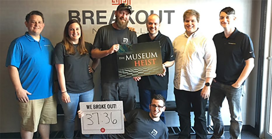 Technology team playing the escape game