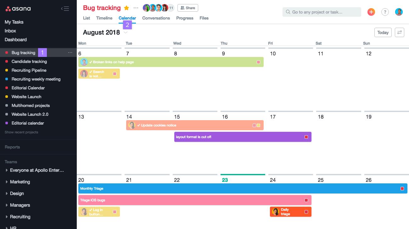 Asana task scheduling in calendar view