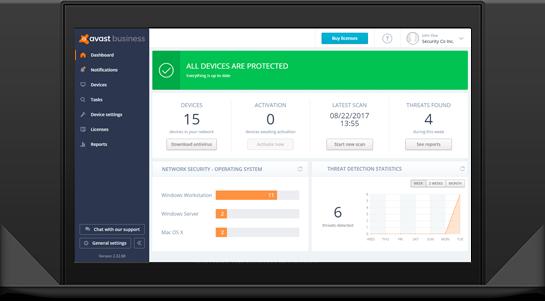 Avast Business Antivirus software dashboard.