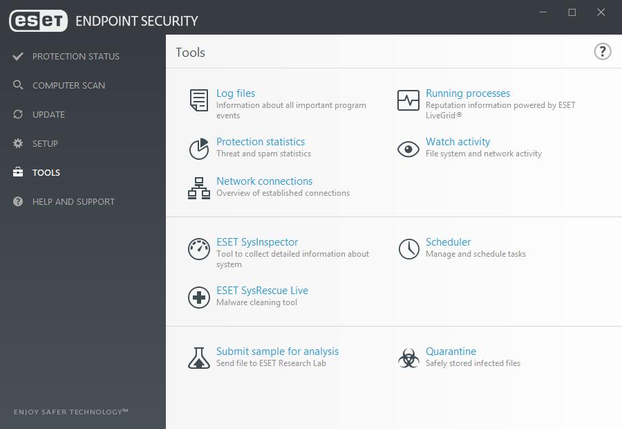 ESET antivirus software dashboard.