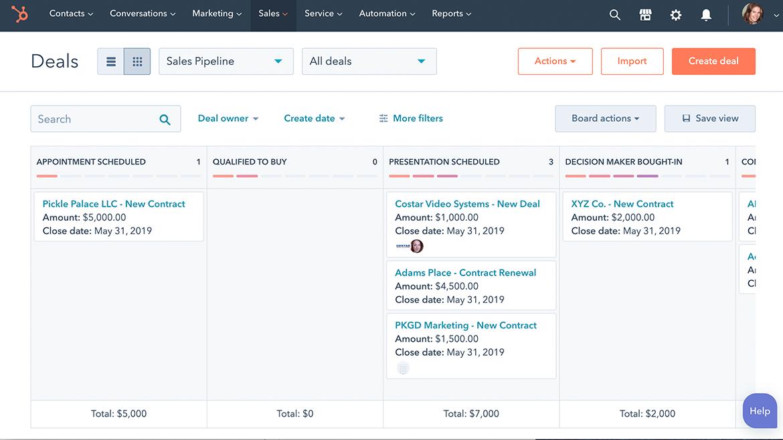 Hubspot sales hub pipeline software.