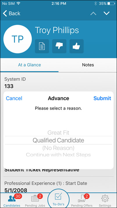 ATS system mobile app: iCIMS