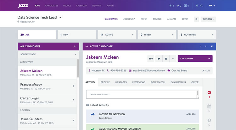 JazzHR applicant tracking system