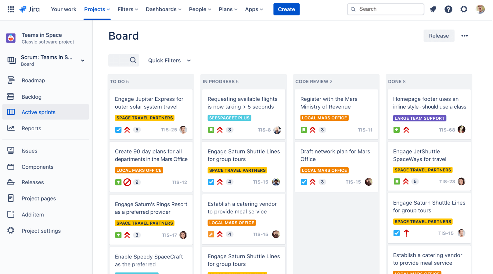 Jira project management kanban style board.