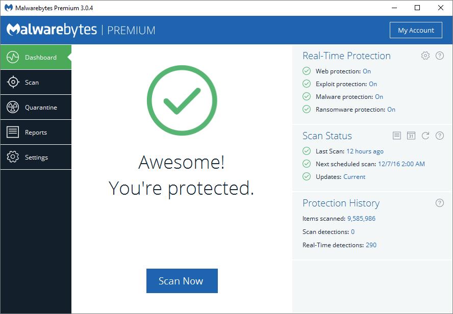 Malwarebytes antivirus software dashboard.