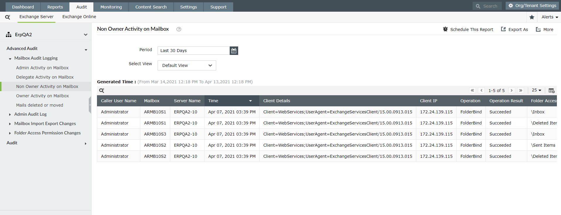 ManageEngine Exchange Reporter Plus Audit.
