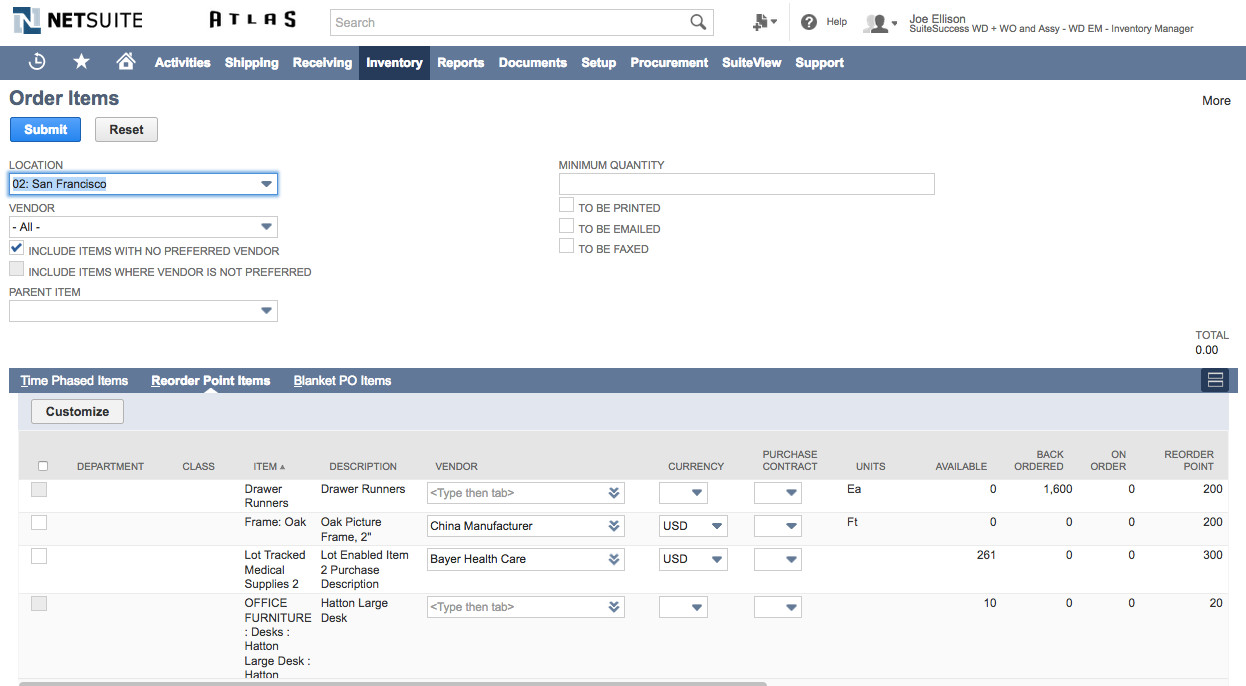 Oracle Netsuite ERP and inventory management software dashboard.