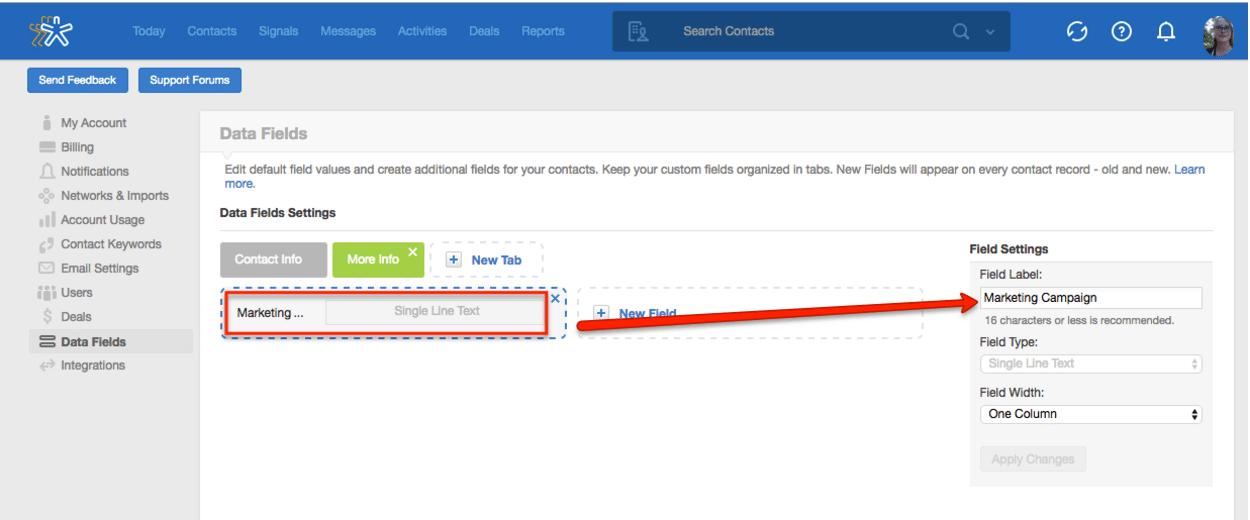 Adding custom fields in Nimble small business CRM.