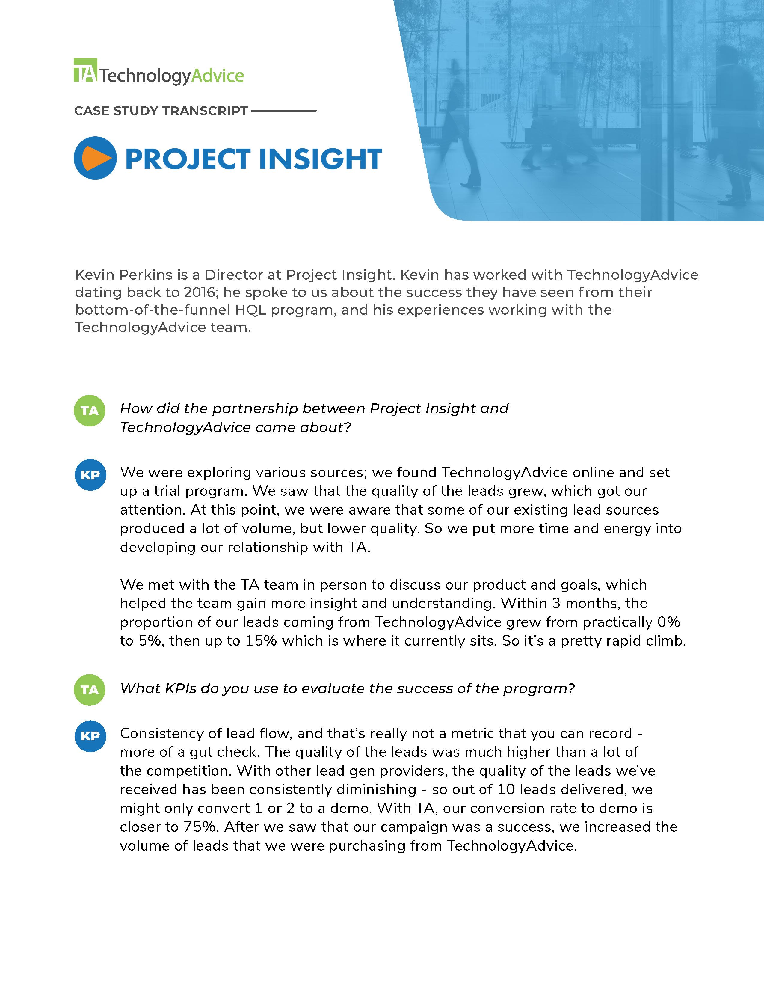 TechnologyAdvice Case Study: Project Insight