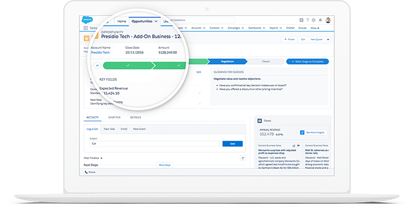 Salesforce sales cloud pipeline management software.