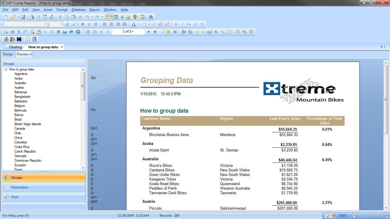 SAP Crystal Reports dashboard.