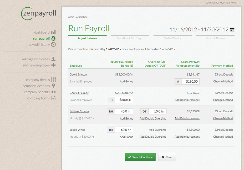 payroll software screenshot: Zenpayroll
